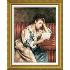 "Global Gallery 'Young Woman Reading' by Mary Cassatt Framed Painting Print Size: 28"" H x 22.55"" W x 1.5"" D"