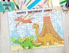 Dinosaur Collection Puzzle Kindergarten Puzzle Homeschool | Etsy Happy Birthday Andy, Educational Games For Toddlers, Make Your Own Puzzle, Bar Wrappers, Tent Cards, Preschool Printables, Puzzle Pieces, Binder, Gifts For Kids
