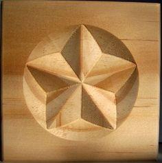 Raised 5 Point Star carved wood rosette corner block--pine