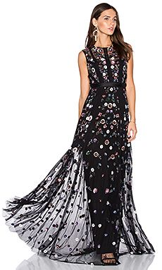 Needle & Thread Floral Ombre Gown in Black