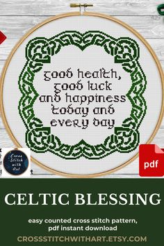 """Irish blessing sayings with Celtic ornament cross stitch frame for relaxing stitching and creating home decor or gift Easy fo follow counted cross stitch charts with b&w and colors symbols Skill level required: beginner ♥ Size: 14 Count, 139 w X 139 h Sts, 10"""" x 10"""" (26w x 26h cm) ♥ full cross, 2 or 3 threads, 3 DMC colors YOUR ORDER WILL INCLUDE 3 PDF #crossstitch #embroidery #pattern #stitching #crafting #handmade #needlecraft #xstitch #crosstitchpattern #puntodecruz #pointdecroix Celtic Cross Stitch, Cross Stitch Art, Cross Stitch Alphabet, Modern Cross Stitch, Counted Cross Stitch Patterns, Cross Stitch Designs, Cross Stitch Embroidery, Hand Embroidery Projects, Hand Embroidery Tutorial"""