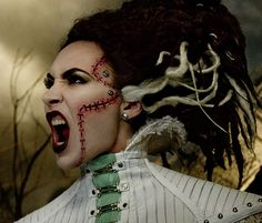 WOW, I would love to take a stab (hurr hurr) at this Bride of Frankenstein look!! Beautiful! MAC x Rick Baker Collection