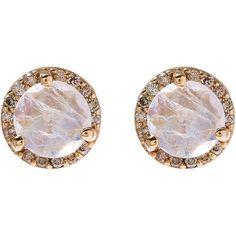 Anna Sheffield Gold Rainbow Moonstone Rosette Stud Earrings (43.755 CZK) ❤ liked on Polyvore featuring jewelry, earrings, pave diamond stud earrings, vintage gold earrings, post earrings, vintage post earrings and rose stud earrings