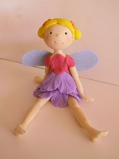 Polymer Clay Fairy, Polymer Clay Figures, Fondant Figures, Polymer Project, Clay Fairies, Fairy Cakes, Biscuit, Pasta Flexible, Fairy Dolls