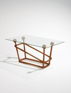 Jean Royère; Wicker, Wood and Glass Coffee Table, c1950.