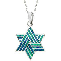La Preciosa Sterling Silver Blue Opal Star of David Pendant ($34) ❤ liked on Polyvore featuring jewelry, pendants, blue, blue opal pendant, star of david pendant, chain pendants, blue opal jewelry and sterling silver opal jewelry