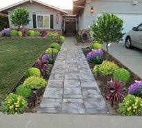 exterior design ideen vorgarten gestalten bunte pflanzen pfad, Gartenarbeit ideen