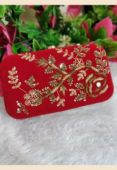 Flower Pattern Design, Flower Patterns, Hand Embroidery, Embroidery Designs, Potli Bags, Silk Brocade, Red Fashion, Fabric Art, Clutches