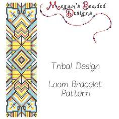 Patrón de abalorios diseño Tribal étnico para telar o puntada cuadrada de MegansBeadedDesigns en Etsy https://www.etsy.com/es/listing/239459797/patron-de-abalorios-diseno-tribal-etnico