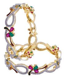 Buy Designer Floral green and pink american diamond bangles Gold Plated Online