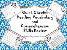 Reading Comprehension Review of Skills for Prefixes, Suffixes, Resource Materials, Parts of a Book, Synonyms/Antonyms, Story Elements, Fiction/Nonfiction, and Reality/Fantasy.