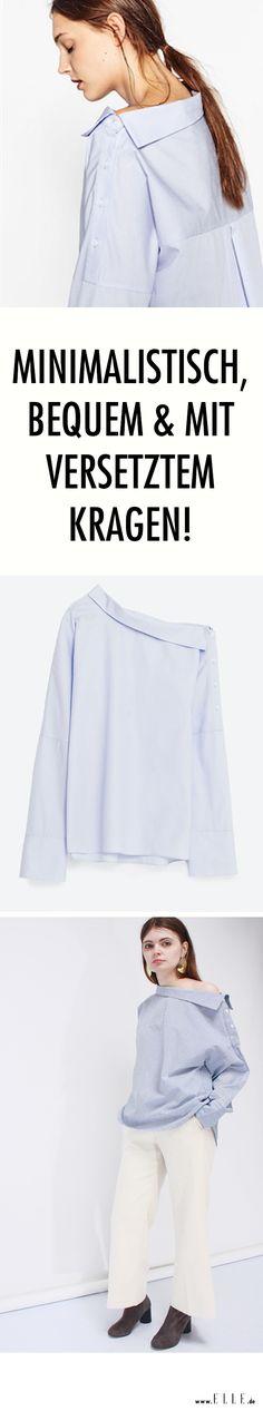 Blusentrend: Oversized Schnitte sorgen für einen bequemen Fit und der minimalistische Stil für die Eleganz. Diese Saison kommt allerdings noch ein wichtiges Detail dazu. Der versetzte Kragen!