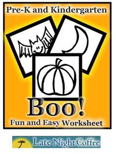 Pre-K and Kindergarten Halloween Worksheet