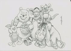 Walt #Disney Winnie The Pooh Art Drawing Sketch Original Animal Cartoon By Sm from $9.99