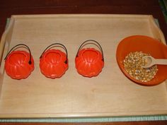 Montessori-Inspired Pumpkin Unit at Living Montessori Now (Photo from Olives and Pickles) Montessori Trays, Montessori Materials, Montessori Activities, Toddler Activities, Learning Activities, Montessori Kindergarten, Montessori Toddler, Halloween Activities For Kids, Autumn Activities