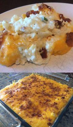 Keto Twice Baked Cauliflower Casserole Baked Cauliflower Casserole, Twice Baked Cauliflower, Cauliflower Recipes, Cauliflower Cheese, Potato Recipes, Chicken Recipes, Ketogenic Recipes, Low Carb Recipes, Cooking Recipes