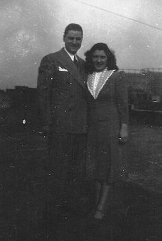 Dominick and Mary (Vitrano) Iacone on roof of Vitrano home