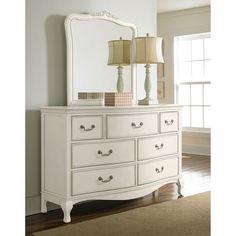 nice NE Kids Kensington 7 Drawer Dresser with Mirror in Antique White