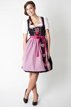 Trachten Dirndl Philine, Mini, black/pink