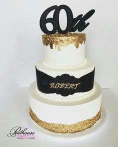 Black And Gold Birthday Cake Dad Cakes 60th