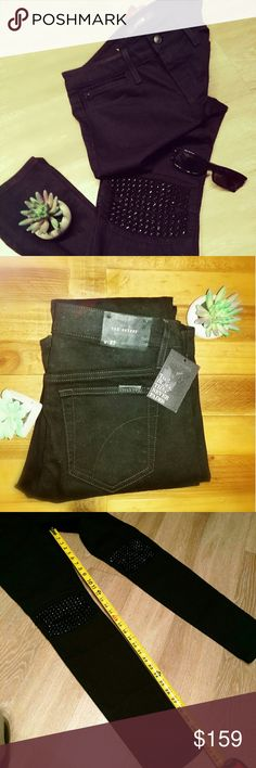 """Joe's LYNDEN Studded Knees Skinny Jeans -NWT- """"The Black that Never Fades"""" LYNDEN style?with studded knee. Size 27, inseam is 32"""", pictured. New WITH tag.  This poor garment has only been put on a body a handful of times, won't you be the one to change that? Sadly, they've just been accumulating dust in my closet for far too long, they really do deserve a better life though. Will you be the one to save these jeans?  -five pocket style -mid rise , skinny -studded knee -92% cotton ; 8 %…"""