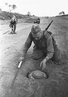 Sapadores soviéticos retiram minas anti-tanque alemães modelo Tellermine 43.