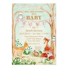 Baby Shower Invitation: Woodland Creatures and Forest Animals, Deer, Fox ,Rabbit & Owl Art  A beautiful, modern design for a new Mom having a newborn Baby Girl and a Baby Shower.  The pink bunting banner tied to the trees invites your guest to party with you and shower the mother to be with gifts.  Hand painted in watercolors by Audrey Jeanne it is available to order in quantities as small as a single invite @ $2.30 or 100 @ $1.38  #woodland #animals #babyshower #baby #forest #fox #deer #owl