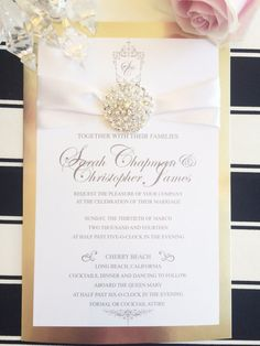 Gold Wedding Invitation With Jewel by PlatinumShoppette on Etsy