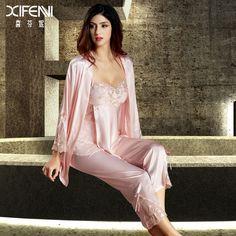 Nice looking jim-jams. Satin Sleepwear, Satin Pajamas, Pyjamas, Sleepwear Women, Pajamas Women, Nightwear, Pink Lingerie, Pretty Lingerie, Luxury Lingerie