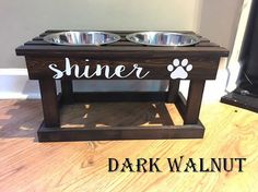 Personalized Elevated Dog Bowl Stand & Wooden Pet by Dog Bowl Stand, Dog Food Bowls, Pet Organization, Wood Dog, Dog Feeder, Pet Furniture, Stain Colors, Diy Stuffed Animals, Wood Projects