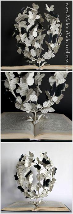 Book Sculpture - Butterfly Tree