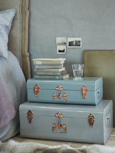 Two Metal Trunks - Grey & Eau de Nil - Decorative Home - Indoor Living