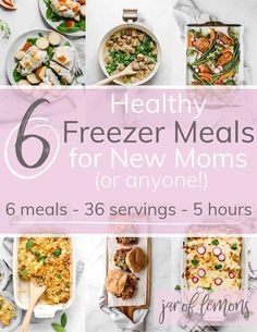6 Healthy Freezer Meals FREE EBOOK These freezer meal recipes are not only great for new moms but also for anyone whos wanting to meal prep and make freezer meals ahead o. Freezable Meals, Make Ahead Freezer Meals, Freezer Cooking, Frugal Meals, Easy Meals, Clean Freezer Meals, Fast Dinners, Paleo Meals, Healthy Frozen Meals