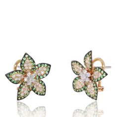 Flower Earrings with Tzavorite (0.90 ct) on the border, white Diamonds (0.70 ct) in the centre and petals. 18K Yellow Gold Earrings