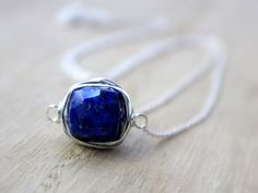 Lapis Lazuli Necklace in Sterling SIlver Bezel by SaressaDesigns