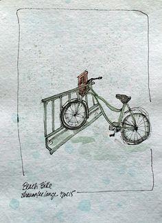 Green bicycle watercolor sketch art journal.visual diary