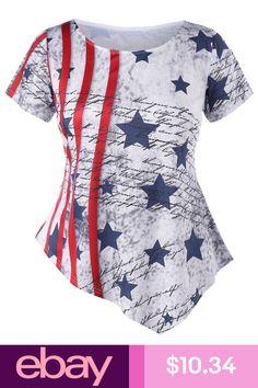 08d73546078 Plus Size Striped Stars Asymmetric T-shirt Tops Blouse Women Patriotic T  Shirt