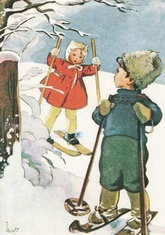 Martta Wendelin Vintage Ski Posters, Vintage Children's Books, Vintage Postcards, Winter Illustration, Illustration Art, Winter Images, Nouvel An, Illustrations And Posters, Christmas Art