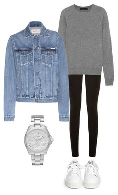 """Denim."" by uselessdk ❤ liked on Polyvore featuring Ash, Paige Denim, Alexander Wang, Calvin Klein Jeans and FOSSIL"