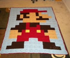 8-Bit Mario Blanket made from Granny Squares-awesome crochet inspiration!!