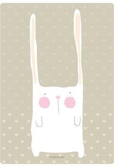 lámina gratis conejito #niños #deco #free art print white rabbit