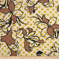 Rihan Jersey Knit Mustard Dots Oversized Navy Flower from @fabricdotcom  This versatile lightweight jersey knit fabric features a rayon blend, which creates lovely drape and a smooth hand. With 25% stretch on the grain, this knit is perfect for drapey t-shirts and scarves. Colors include tan, black, brown, and mustard yellow.