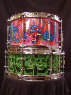 Skull and Dragon custom snare drums