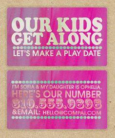 Cute and practical for people with kids- awesome idea, contact cards for playdates, done in MDS!