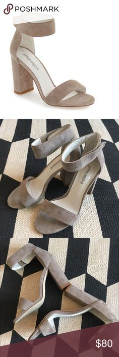 """Jeffrey Campbell Lindsey Classic Taupe suede, size 7, ankle strap, chunky 3"""" heel, runs 1/2 size small, fit 6.5, worn once, no trades Jeffrey Campbell Shoes Sandals"""