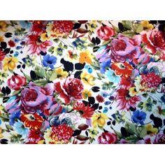 Tissu Coton de Satin Imprimé Fleurs d'été SONA 00