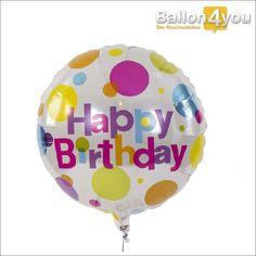"""Happy Birthday - bunte Farben     Überraschen Sie mit diesem Geburtstagsgruß. Verziert mit teilweise pinken Farben, eignet sich dieser Ballon gerade für die weiblichen Geburtstagskinder. Lassen Sie dieses """"hochschweben"""", mit einem Ballongruß von Ballon4You."""