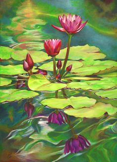 Two Water Lilies and their Reflections Canvas Print / Canvas Art by Nancy Tilles Water Lilies Painting, Lotus Painting, Lily Painting, Watercolor Water, Eye Painting, Watercolor Paintings, Painting Abstract, Lotus Kunst, Lotus Art