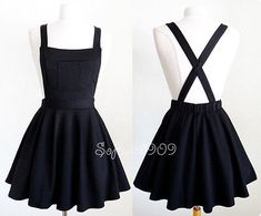 NEW Black Soft Knit Crisscross Suspender High Waisted Pleated CUTE Overall Skirt - outfit - Roupas Ideias Teen Fashion Outfits, Mode Outfits, Girl Outfits, Casual Outfits, Fashion Dresses, Womens Fashion, Ladies Fashion, Disney Outfits, Grunge Outfits
