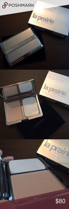 La Prairie Cellular Treatment Foundation Powder Used once, more than 95% of product is available. Authentic La Praire, purchased at Bloomingdales, still have their label attached to the box. Color didn't work for my skin tone. Combines cream, powder and high technology for a perfect silky-matte compact foundation which may be used as a primary foundation or as a touch-up for any foundation. Use it with wet sponge for lighter coverage or with brush for fuller coverage. Color: Cameo - darker…